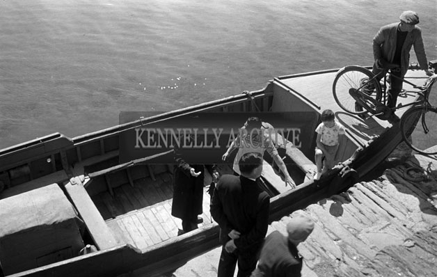 1953; A Photo Of Priests Arriving At Valentia Island By Ferry.