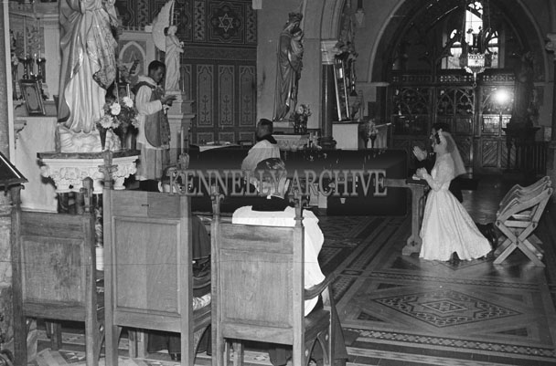 August 1957; A photo taken at a wedding in Castleisland Church.