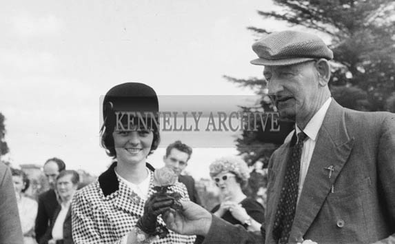 September 1964; Pat Wynne Presenting A Rose To One Of The Contestants For The Rose Of Tralee Festival.