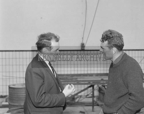 May 1964; Hans Smidt from Denmark along with the chairman of An Board Iascaigh Mhara, Mr Brendan O'Kelly, at the Rainbow Ltd plant in Renard.