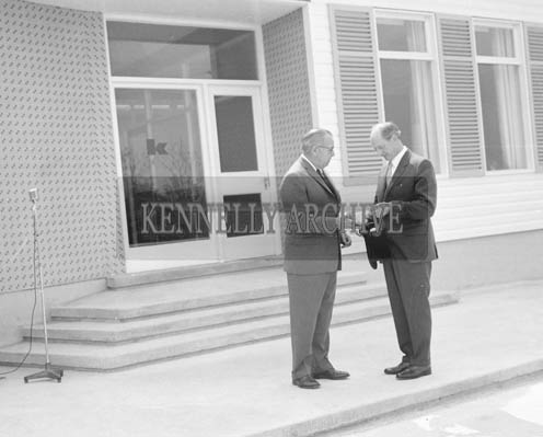 25th May 1964; The official opening of the Kerry Precision Ball Bearing Company in Tralee, attended by the Minister for Industry and Commerce Mr Jack Lynch. The factory was the first of its type in Ireland. Minister Lynch is photographed here with Managing Director Cliff McAleenan.