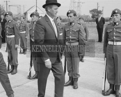 25th May 1964; The official opening of the Kerry Precision Ball Bearing Company in Tralee, attended by the Minister for Industry and Commerce Mr Jack Lynch. The Minister is inspecting a guard of honour of the FCA on his arrival at the factory.