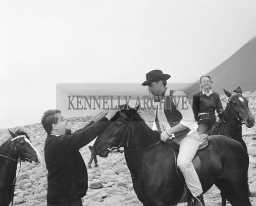 August 1964; A photo of Ernie Evans presenting the winners with their rosettes at Glenbeigh Races.