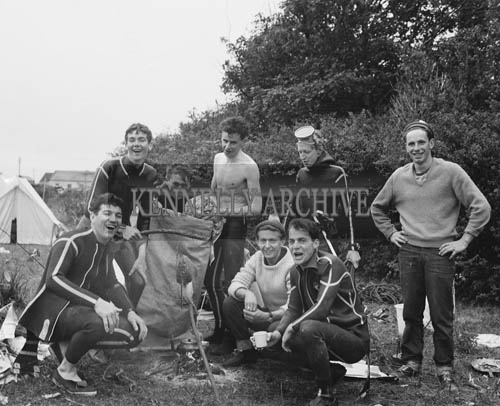 2nd August 1964; A photo of deep sea divers in Knightstown, Valentia for a spearfishing competition.