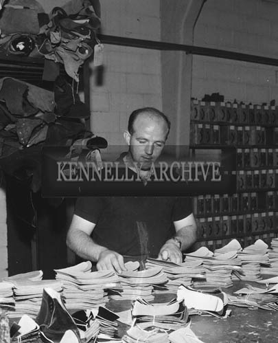 September 1964; A photo of Kerry footballer Teddy O'Dowd at work in Traly Footware in Tralee.