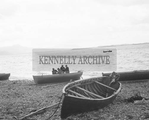 16th October 1964; A photo taken on the first day of the mussel fishing season in Cromane.