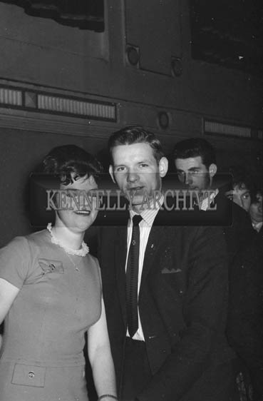 1st November 1964; People enjoy themselves at a dance in the Ashe Hall in Tralee. Music at the dance was provided by the Atlantic Showband.