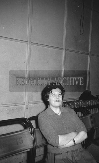 31st January 1964; A photo of a woman at a dance in the CYMS, Tralee.