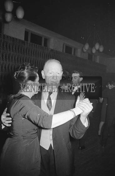 February 1964; A photo of people enjoying themselves at the Cattle Mart Social in The Hotel Manhattan, Tralee.