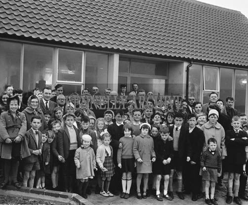 17th November 1964; A photo taken at the opening of Rathmorrel National School in Causeway after The Very Rev. T. Courtney P.P. and Rev. P. McAuliffe Celebrated Mass.