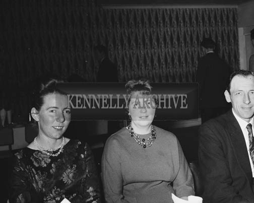 February 1964; Annie Mai Donegan (centre) with her husband Bob Gleasure at the Macra na Feirme Social in the Hotel Manhattan, Tralee.