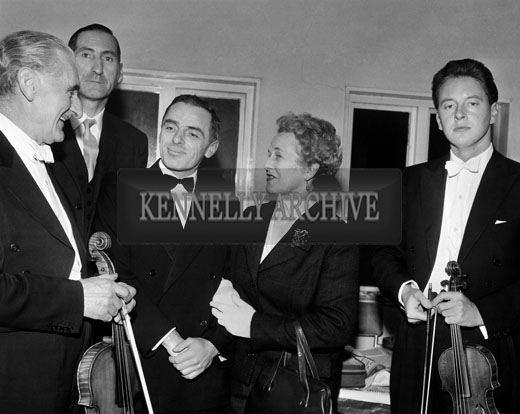 30th October 1964; Members of Tralee Orchestral Society during a visit to Tralee by The London String Quartet. Michael O'Rourke is 2nd from left and Bobby O'Connell is 3rd from left in the photo.
