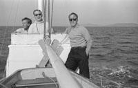 1953; Three Men Enjoying Themselves On A Boat Trip Off Valentia Island.