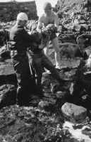 1953; Three Divers Checking Their Equipment On Valentia Island.