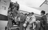 1953; A Group Of People Boarding 'The Skyway Of London' Plane In Paris, France.