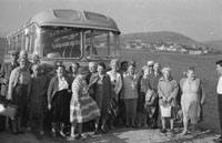 1953; A Photo Of People From A Bus Tour At Valentia Island Pier.