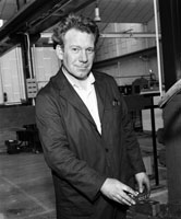 1964; One of the workers at the Kerry Precision Ball Factory in Clash poses for the camera.